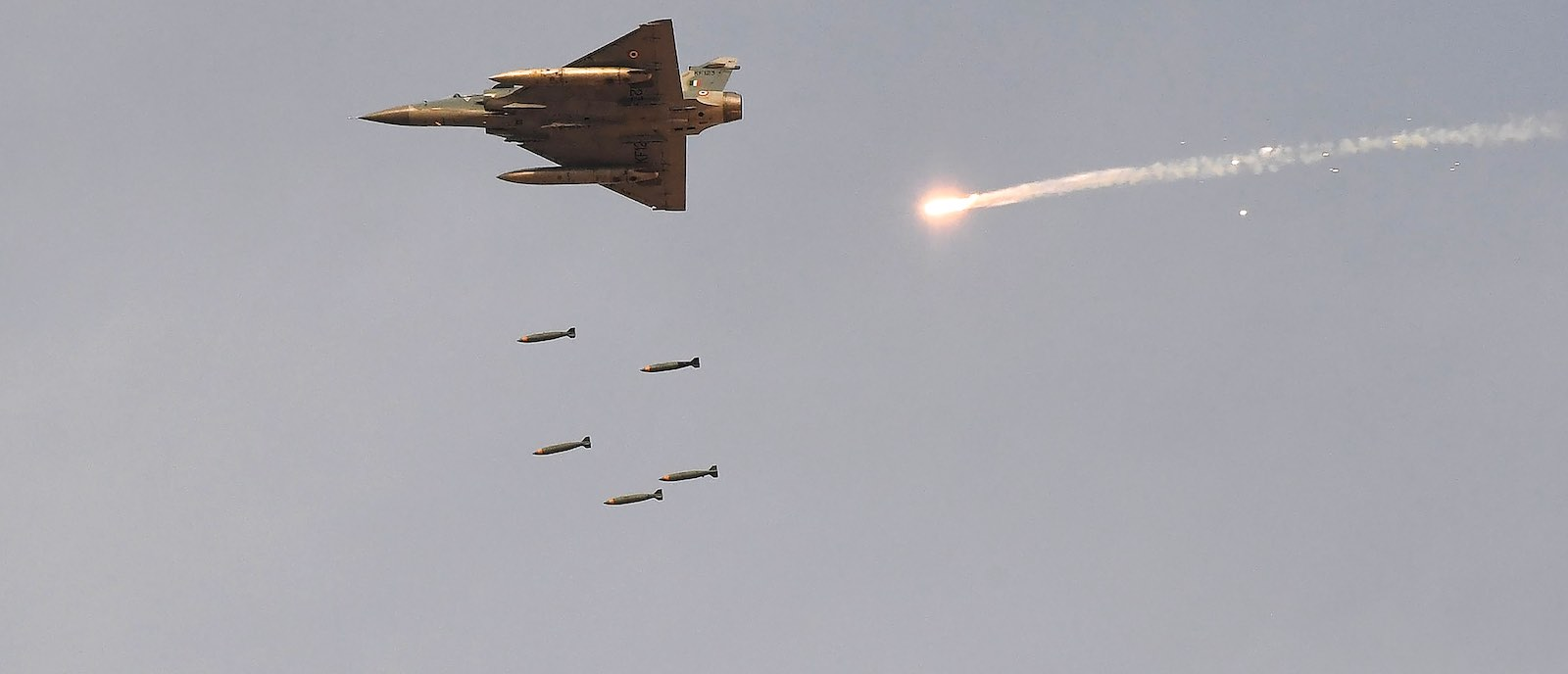 An Indian Air Force Mirage-2000 fighter of the type said to have bombed near Balakot during a training exercise in February (Photo:  Prakash Singh via Getty)