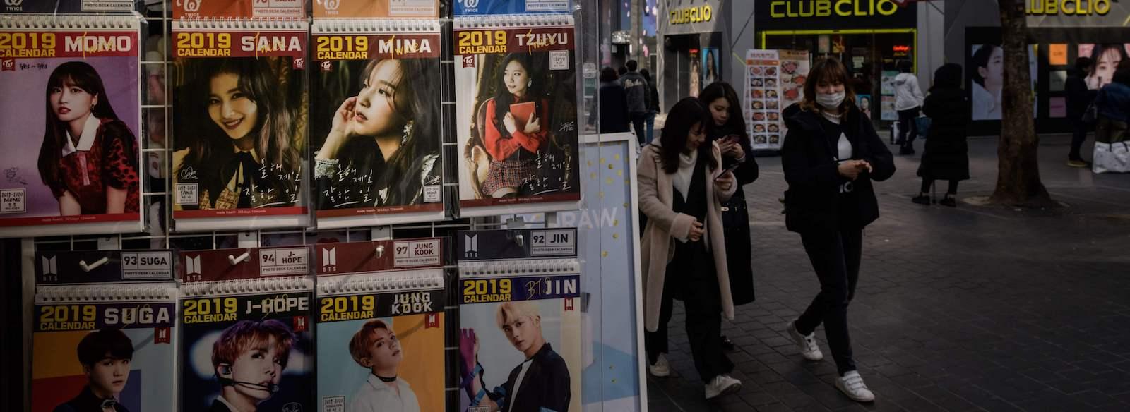 K-pop merchandise displayed in Seoul (Photo: Ed Jones via Getty)