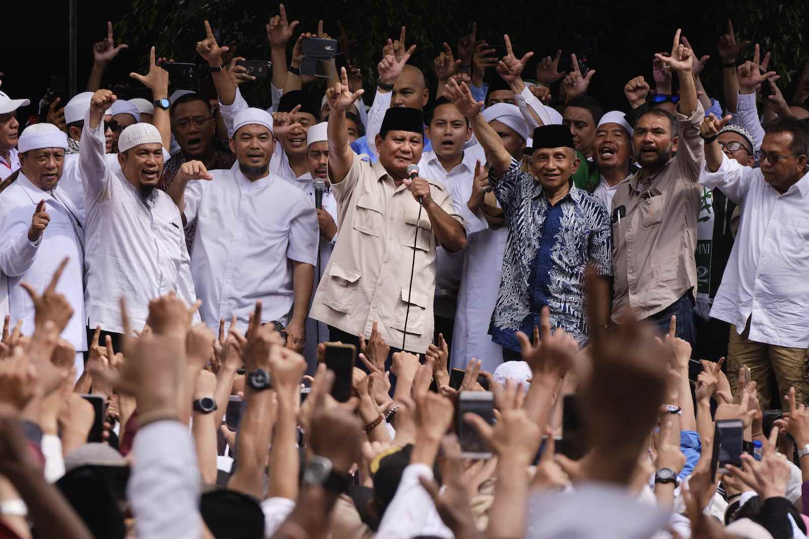 Presidential candidate Prabowo Subianto (centre) speaks to supporters in Jakarta after the general election in April 2019, which he eventually lost to incumbent Joko Widodo (Photo: Ed Wray/Getty Images)