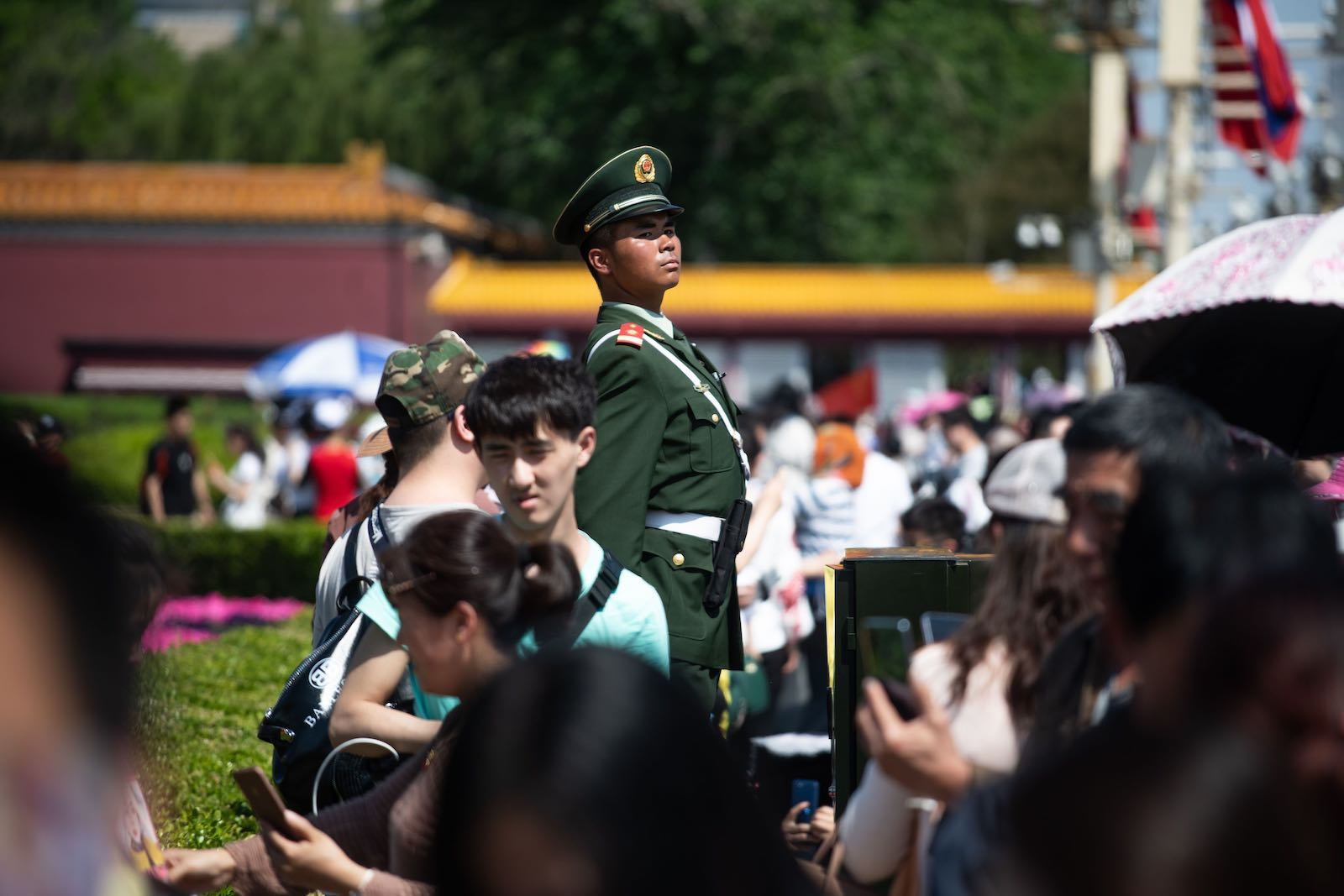 On watch: police near Tiananmen Square on 1 May, Labour Day (Photo: Fred Dufour via Getty)