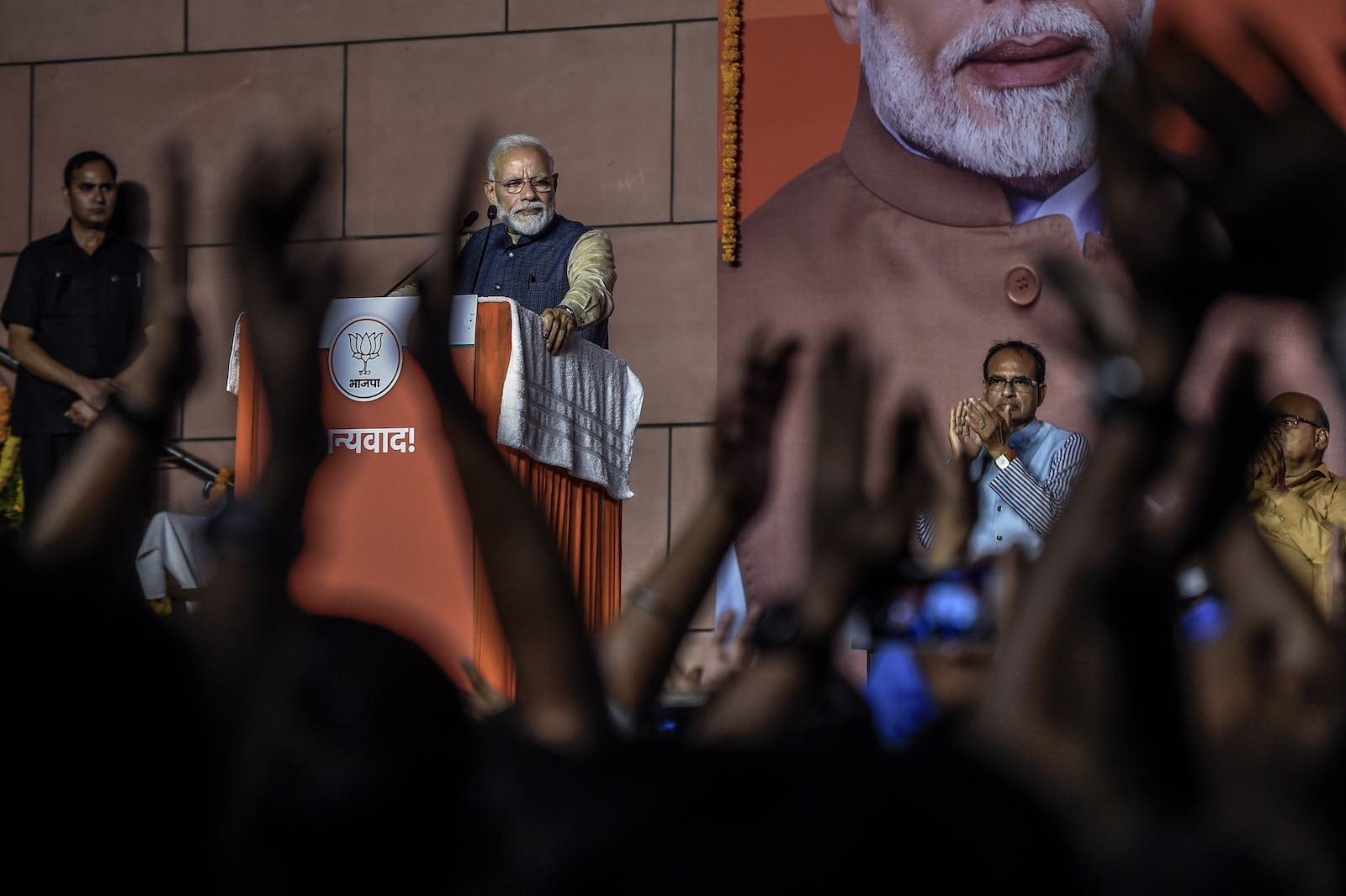 Celebrating a big win - Narendra Modi, India's Prime Minister (Photo: Atul Loke/Getty)