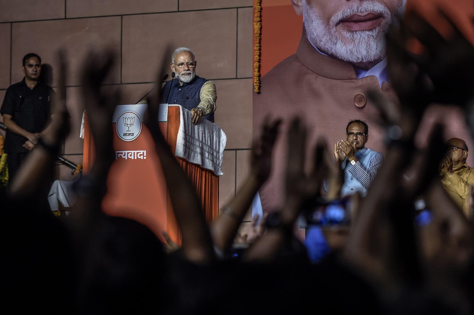 Celebrating a big win - Narendra Modi, India's Prime Minister (Photo: Atul Loke/Getty)