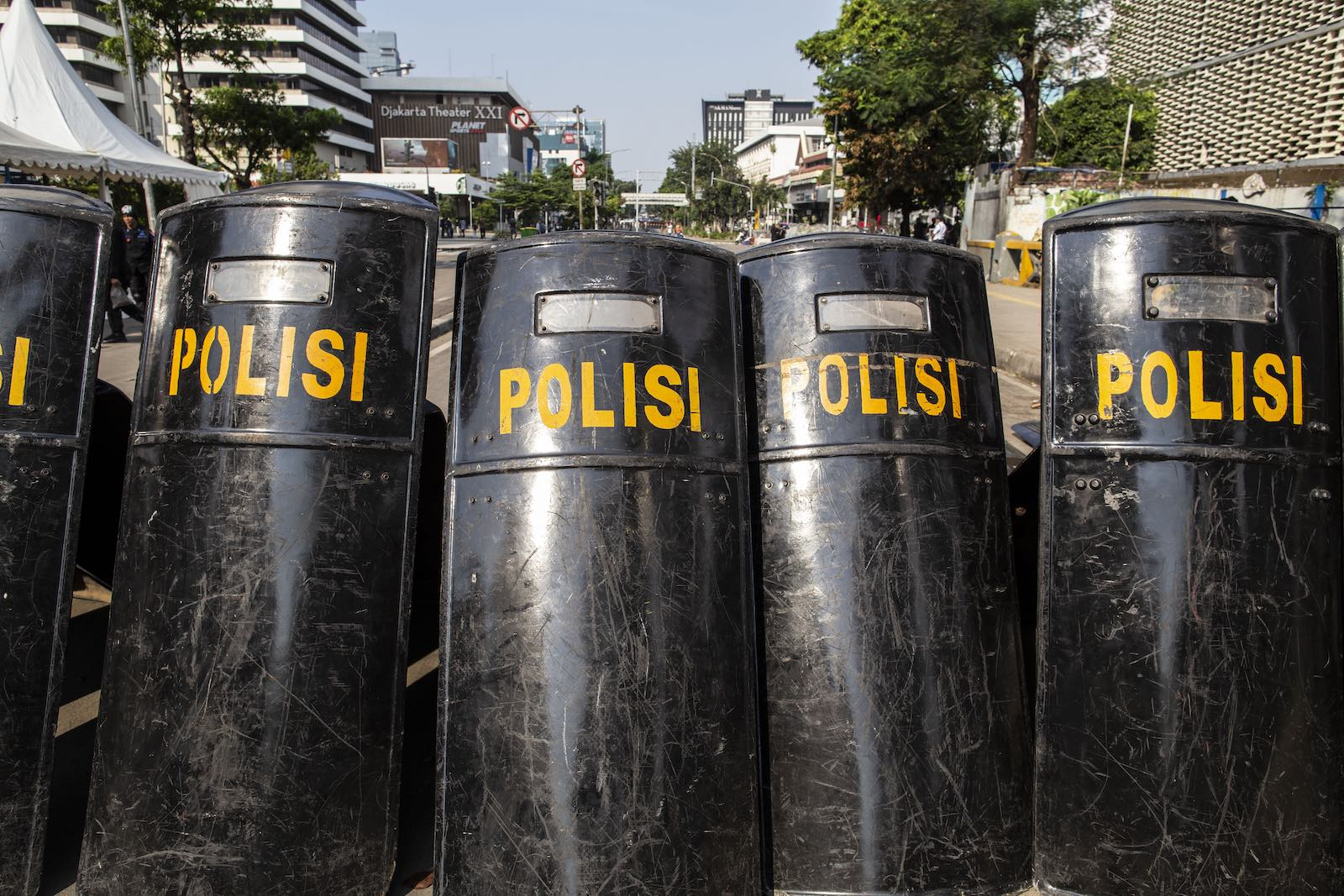 Police preparation in Jakarta in case of continued violence following the poll announcement (Photo: Donal Husni via Getty)