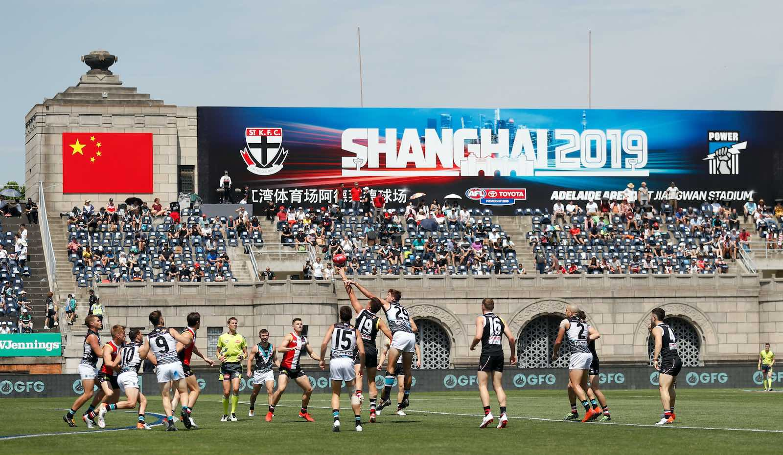 The 2 June 2019 AFL round 11 match between the St Kilda Saints and the Port Adelaide Power at Jiangwan Stadium, Shanghai, China (Michael Willson/AFL Photos via Getty Images)