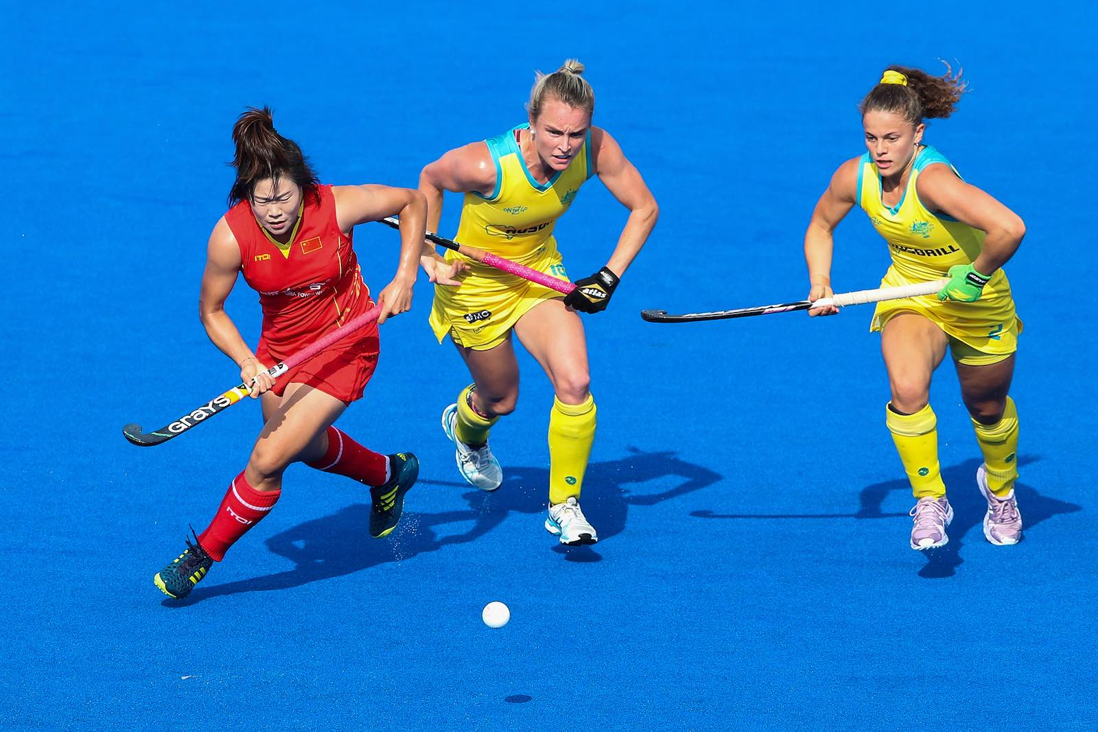 China plays Australia in a Women's FIH Field Hockey Pro League match on 2 June in Changzhou, China (Photo: Lintao Zhang/Getty)