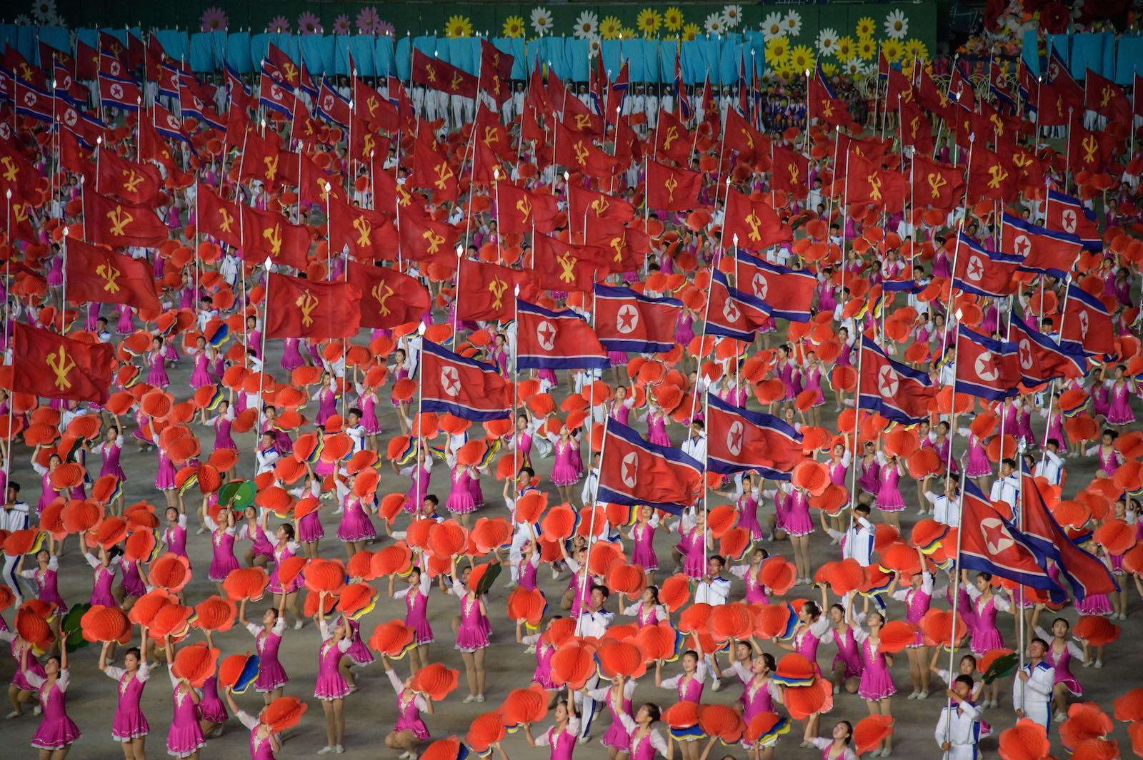 """Grand Mass Gymnastics and Artistic Performance"" in Pyongyang, 4 June (Photo: STR via Getty)"