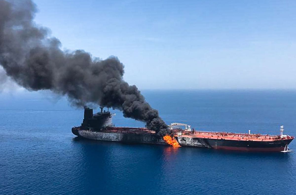 A photo obtained by AFP from Iranian News Agency ISNA reportedly shows Norwegian owned Front Altair tanker said to have been attacked in the Gulf of Oman (Photo: Getty Images)
