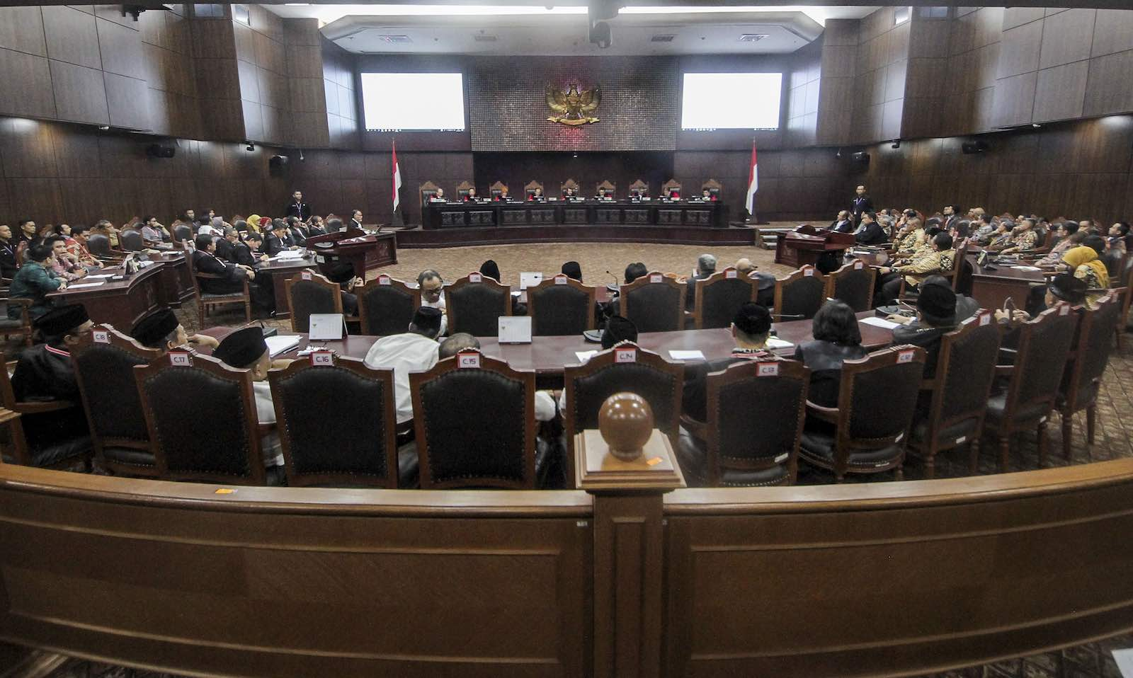 Hearings on 2019 Presidential election dispute last year in the Constitutional Court in Jakarta, Indonesia (Eko Siswono Toyudho via Getty Images)