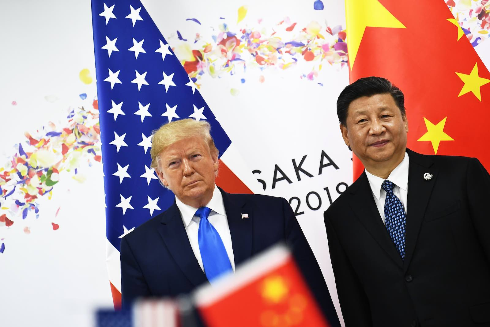 Donald Trump and Xi Jinping during talks at the Osaka G20 in Japan (Photo: Brendan Smialowski via Getty)