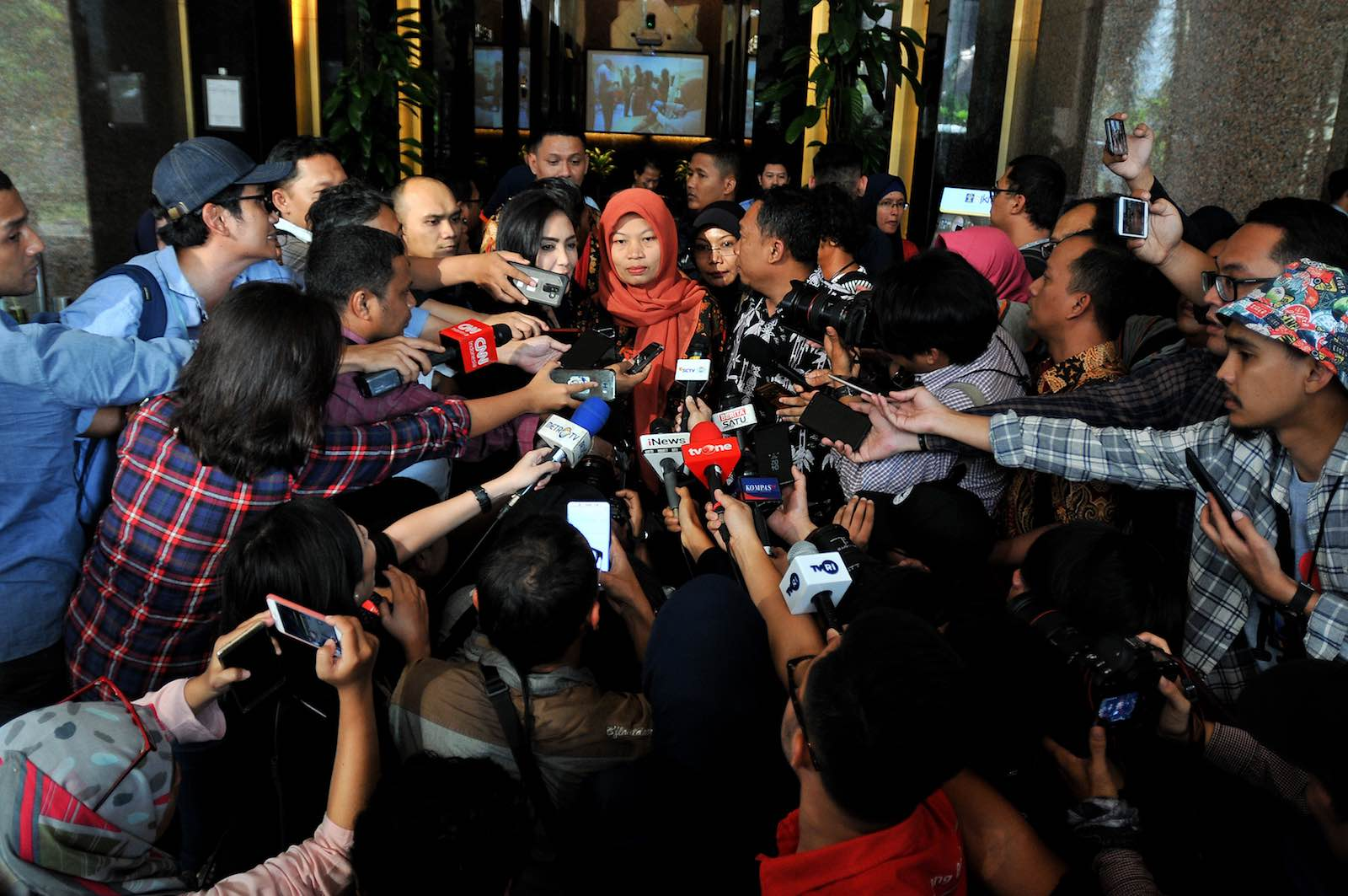 Baiq Nuril following a meeting with Indonesia's Minister of Law and Human Rights Yasonna Laoly last month (Photo: Dasril Roszandi via Getty)