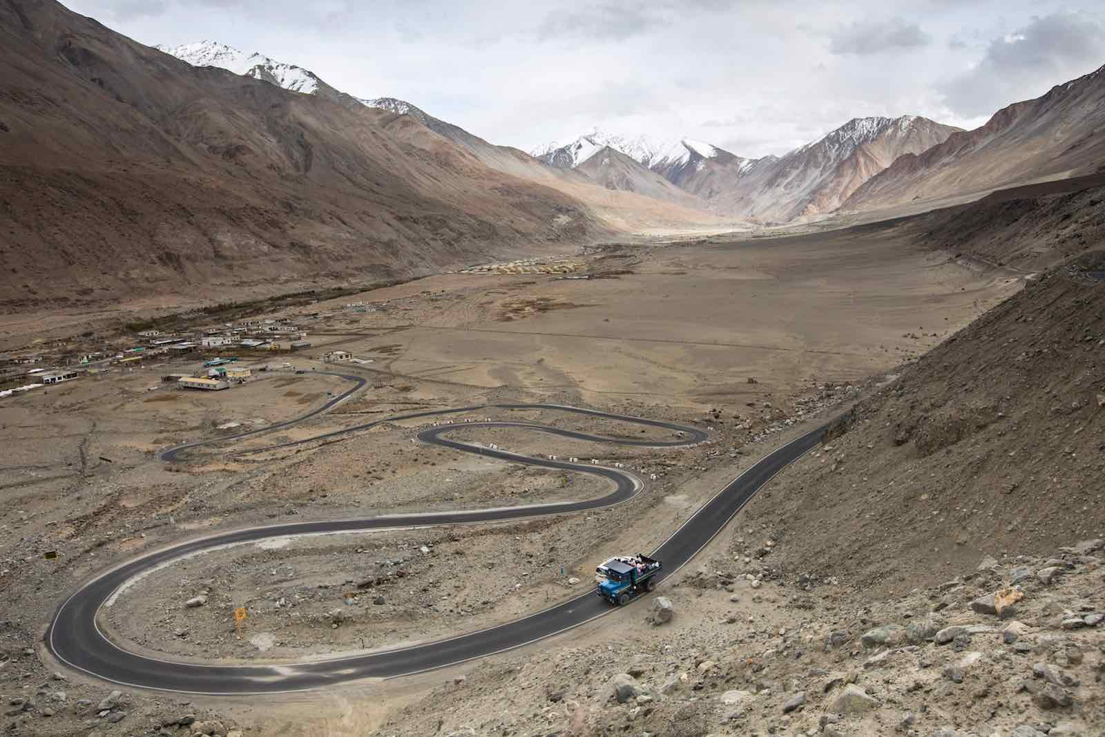 Pangong Lake road in Ladakh in northern India, near one of the disputed sites (Xavier Galiana/AFP via Getty Images)