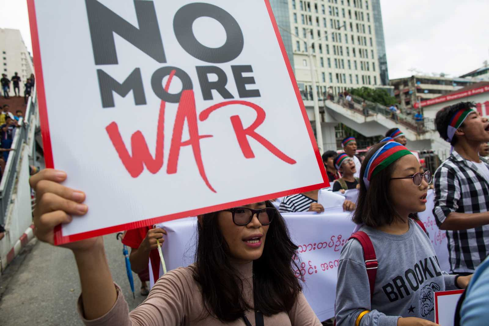 Ethnic Chin protesters in Yangon call for an end to fighting between the Myanmar military and the Arakan Army, July 2019 (Photo: Sai Aung Main via Getty)