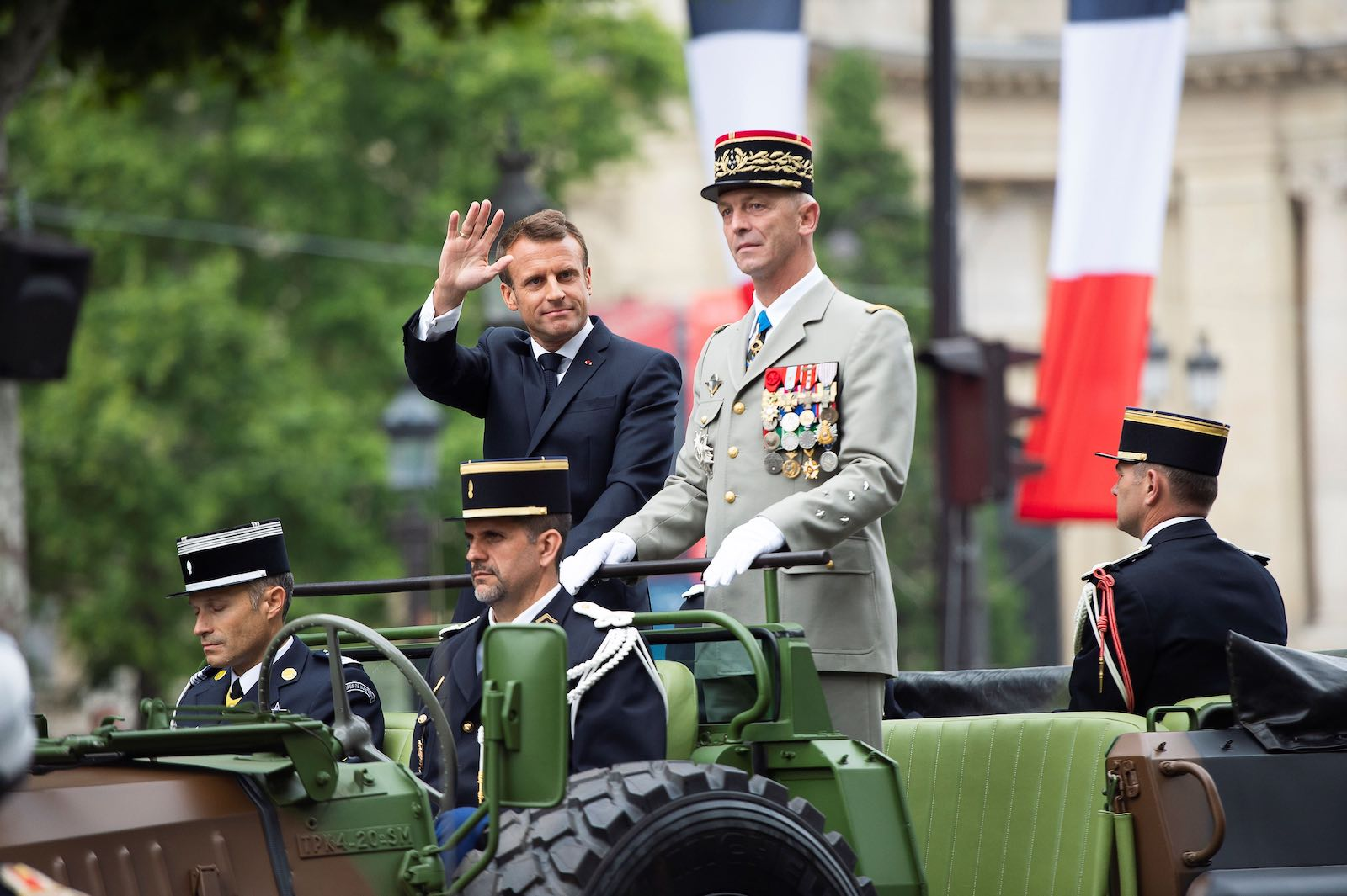 France's President Emmanuel Macron reviews the troops during the annual Bastille Day military parade in Paris this month (Photo: Eliot Blondet via Getty)