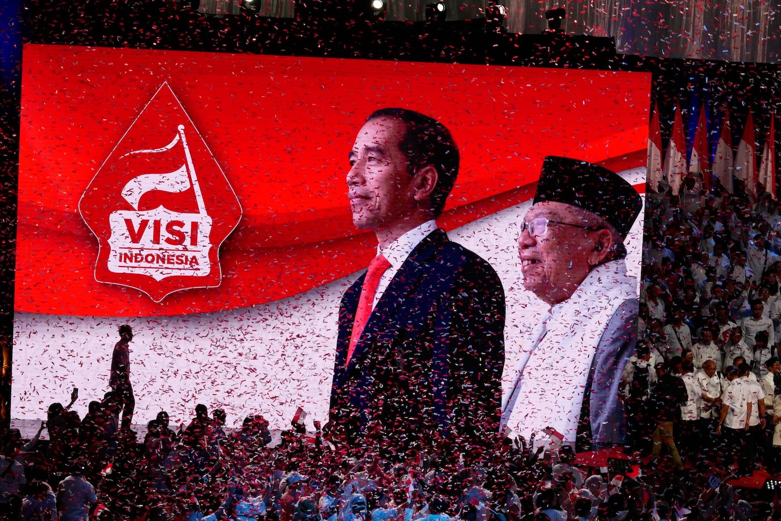 Preparations earlier this month for Jokowi to deliver a presidential vision and mission following his recent election victory (Photo: Anton Raharjo via Getty)