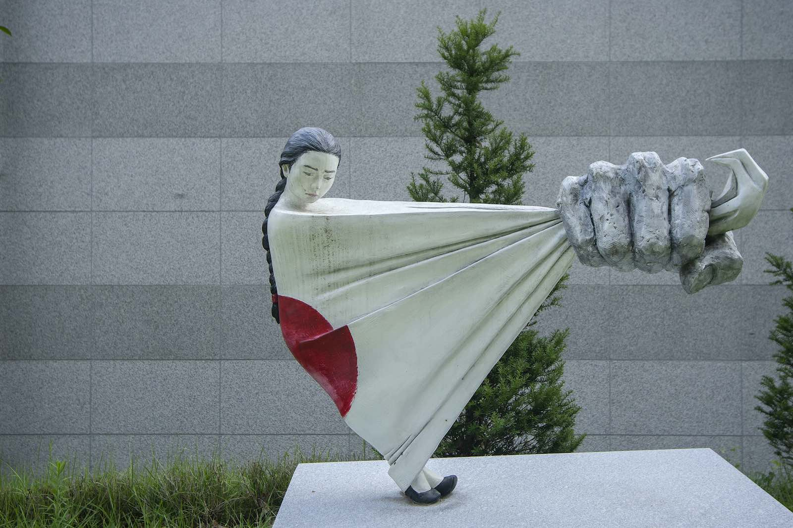 """A sculpture to memorialise the """"comfort women"""" of the Second World War at Memorial Park of Sharing House in Gwangju, South Korea (Seung-il Ryu/NurPhoto via Getty Images)"""