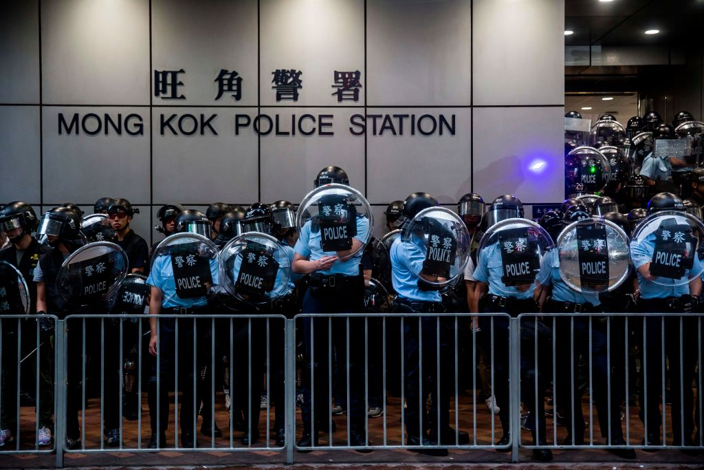 Police in Mong Kok district, Hong Kong