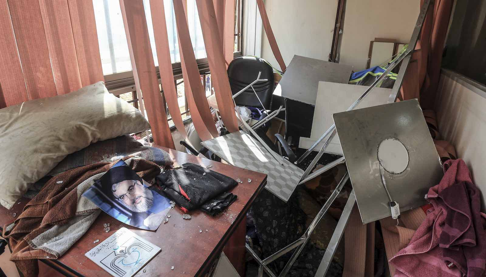 Damage inside a Hezbollah media office in Beirut, after an alleged Israeli drone exploded near the building, 25 August 2019 (Photo: STR/Picture Alliance via Getty Images)