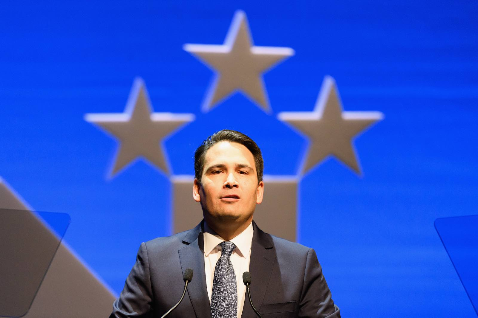 National Party Leader Simon Bridges addresses the party conference in Christchurch in July (Photo: Kai Schwoerer/Getty Images)