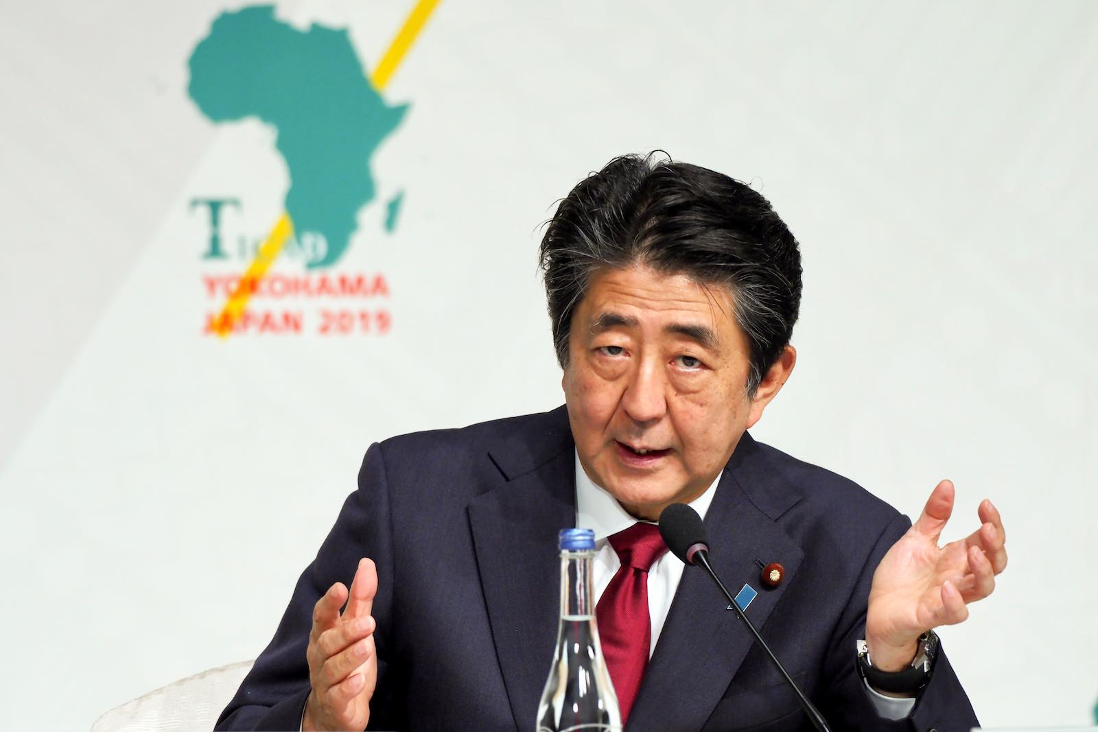Japan's Prime Minister Shinzo Abe answers questions during a press conference last month at the seventh Tokyo International Conference on African Development (Photo: Toshifumi Kitamura/AFP/Getty Images)