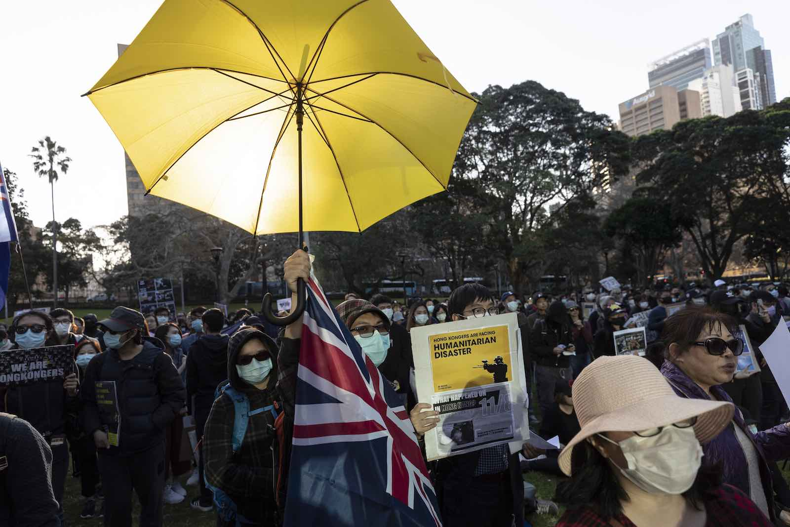 Demonstration in Sydney in support of Hong Kong democracy movement, 18 August 2019 (Photo: Brook Mitchell/Getty Images)
