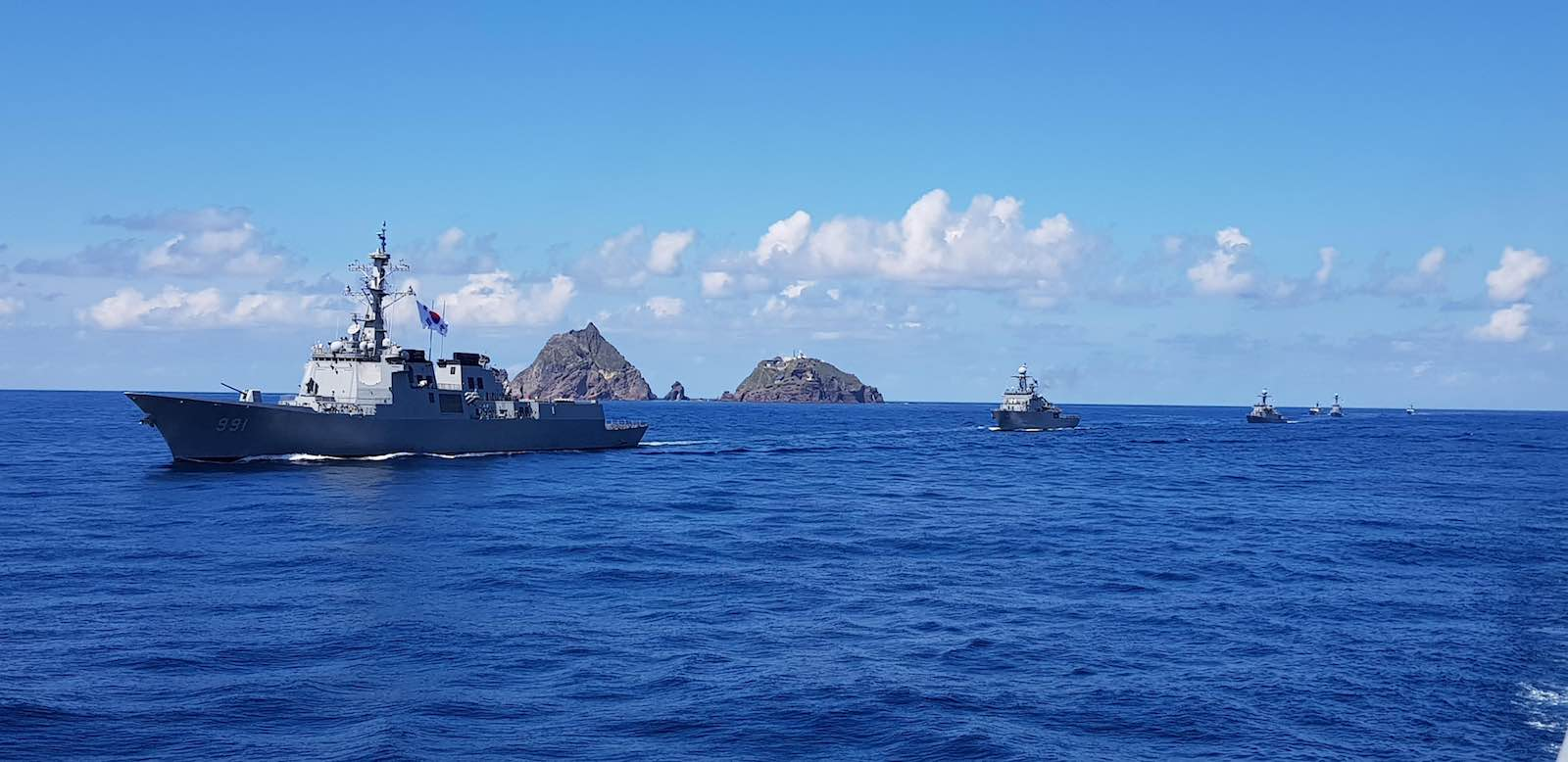 South Korean navy drills in August near the islets called Dokdo in Korean and Takeshima in Japanese (South Korea Navy via Getty Images)