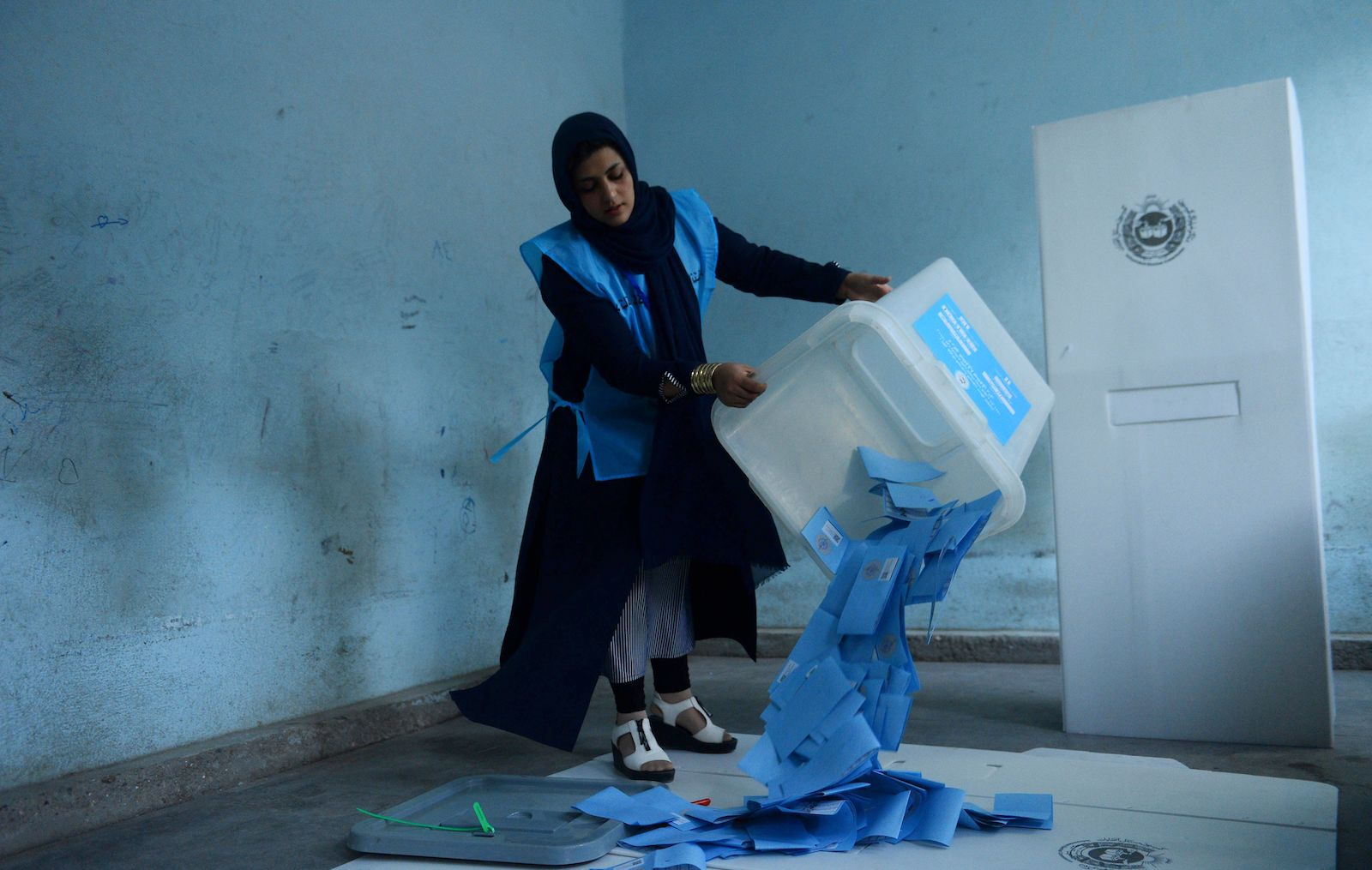 An Afghan election official empties a ballot box to count ballot papers, Herat, 28 September 2019 (Photo: Hoshang Hashimi/AFP/Getty Images)