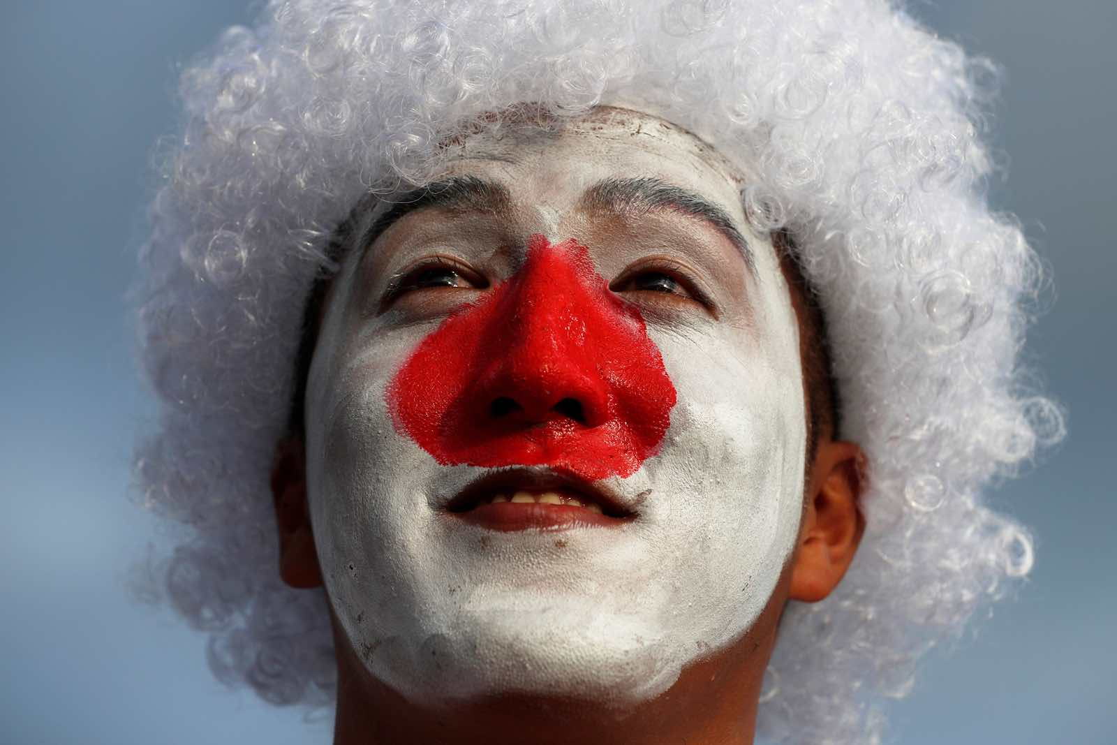 A Japan rugby fan outside the Shizuoka Stadium Ecopa in Shizuoka prefecture, 4 October 2019 (Photo: Adrian Dennis/AFP/Getty Images)