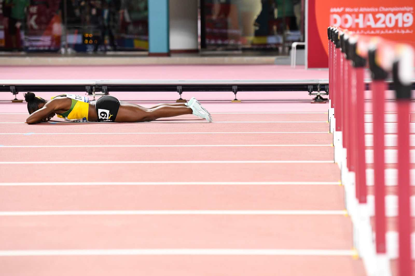 Jamaica's Megan Tapper following the women's 100-metre hurdles final in Doha on 6 October 2019 (Photo by Kirill Kudryavtsev/AFP/Getty Images)