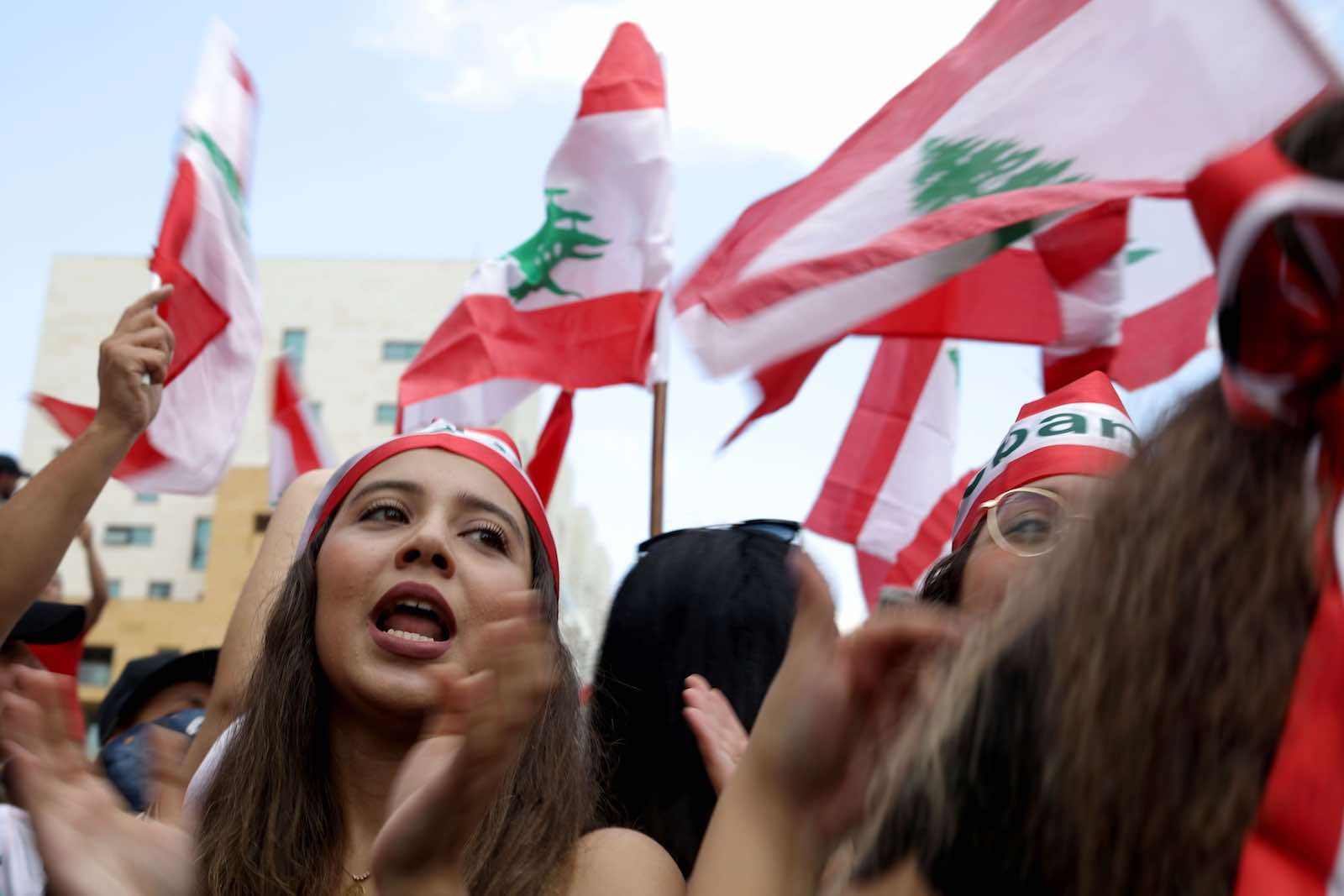 A rally in downtown Beirut on 20 October (Photo: Patrick Baz/AFP/Getty Images)