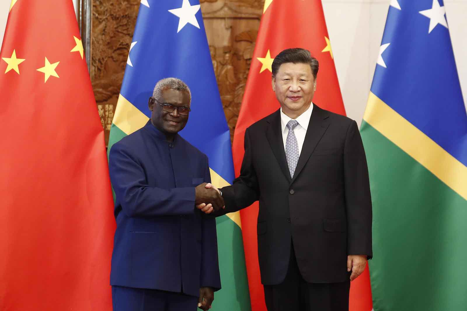 Solomon Islands' Prime Minister Manasseh Sogavare and China's Xi Jinping on 8 October in Beijing (Photo: Sheng Jiapeng/VCG/Getty Images)