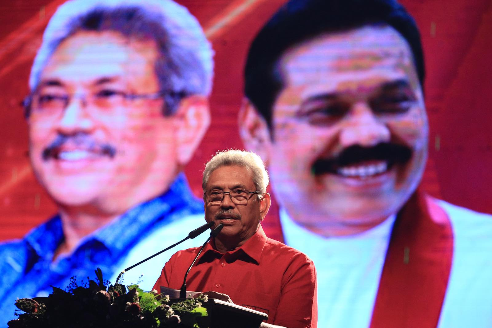 Gotabaya Rajapaksa delivers a speech during his final election rally, Colombo, Sri Lanka, 13 November 2019. (Photo: Tharaka Basnayaka/NurPhoto via Getty Images)