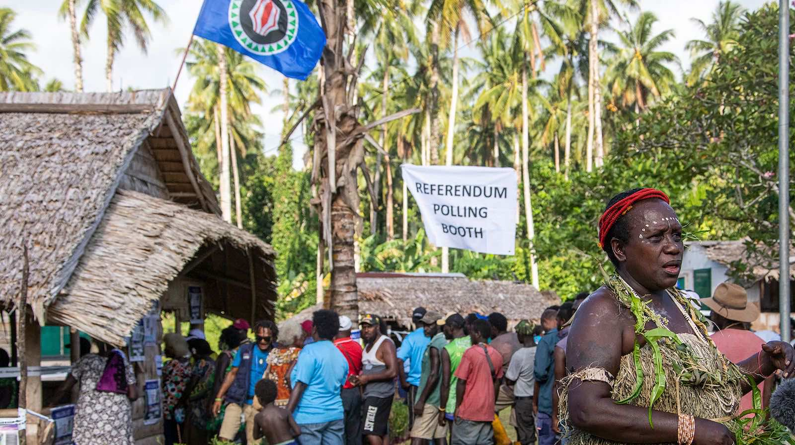 Polling in the capital Buka in November 2019. Across Bougainville 97.7 per cent of ballots supported independence (Ness Kerton/AFP via Getty Images)