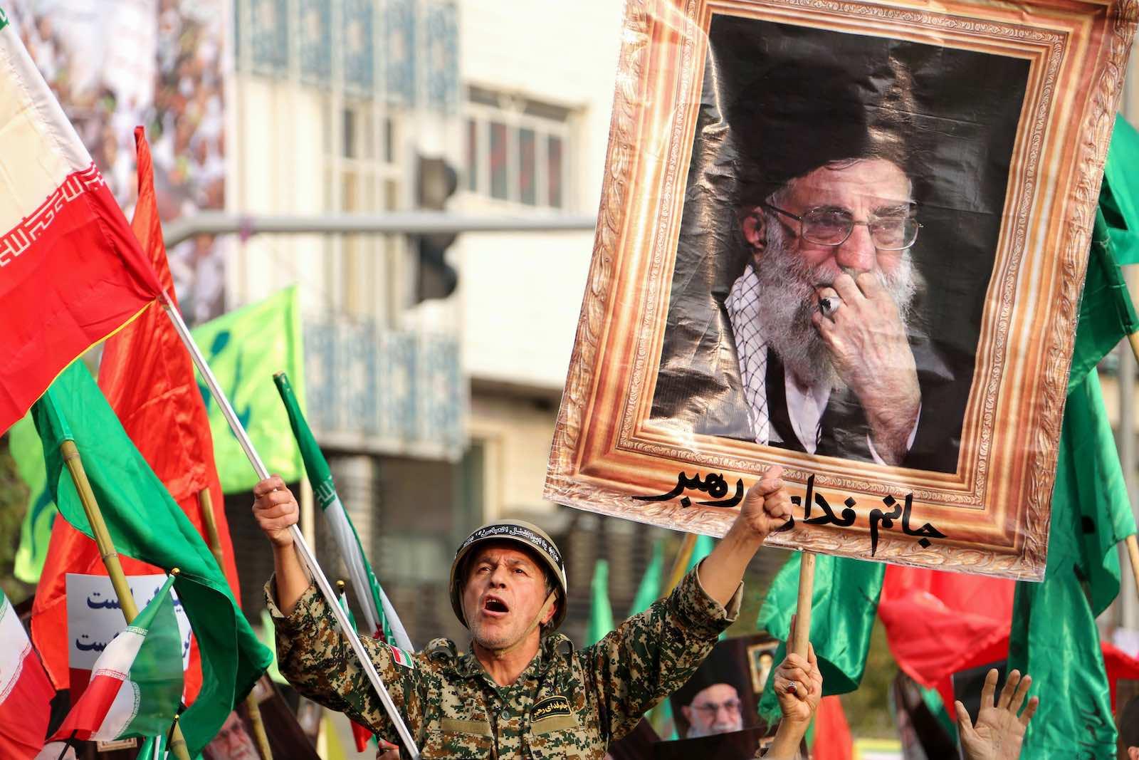 Iranian pro-government demonstrators on the streets in Tehran last month (Photo: Atta Kenare/AFP/Getty Images)