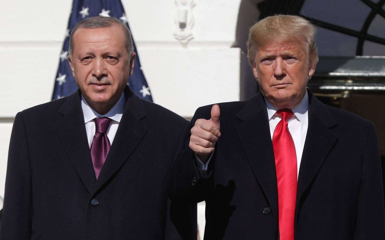 A thumbs-up for Turkish President Recep Tayyip Erdogan upon his arrival at the White House, 13 November (Photo: Alex Wong/Getty Images)