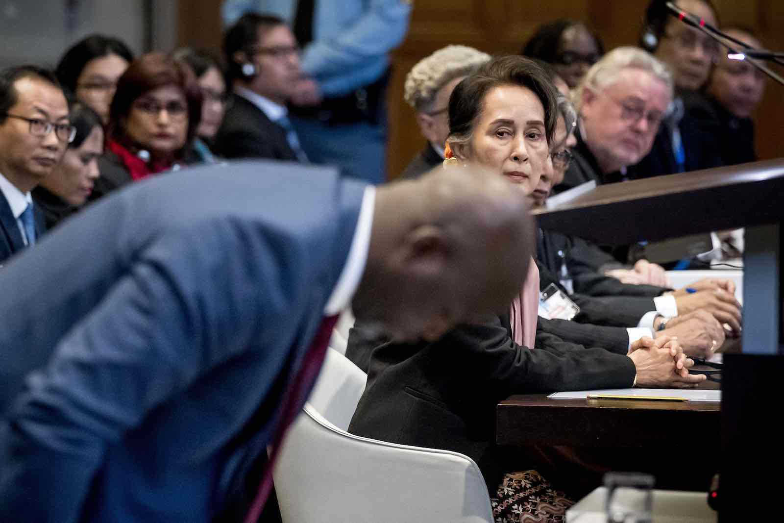 Myanmar's State Counsellor Aung San Suu Kyi looks on as Gambian Justice Minister Abubacarr Tambadou appears before International Court of Justice on 10 December, The Hague (Photo: Photo by Koen Van Weel/AFP/Getty)