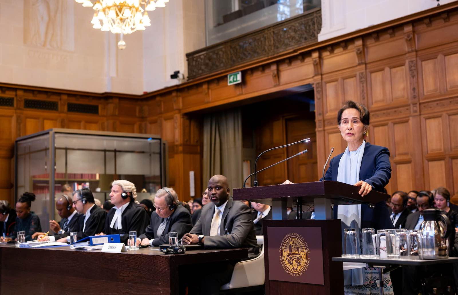 Aung Suu Kyi defends Myanmar against accusations of genocide against Rohingya at the top UN court in The Hague (Photo: International Court of Justice via Getty Images)