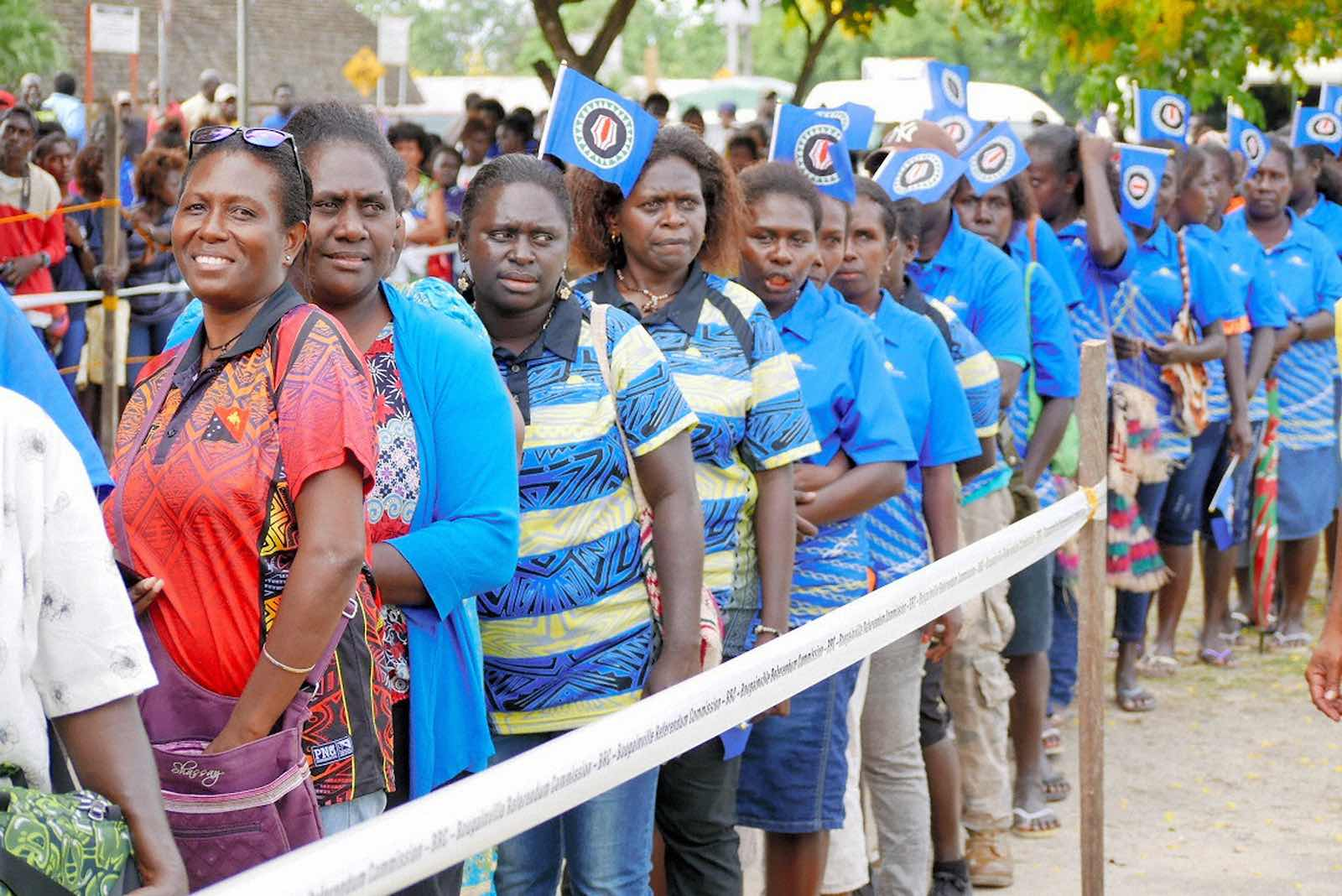 Getting ready to vote during the Bougainville independence referendum in November 2019, Buka (The Asahi Shimbun via Getty Images)