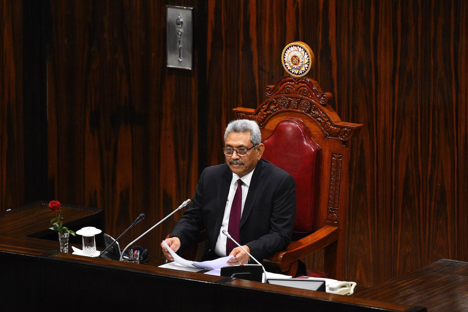 Sri Lanka's President Gotabaya Rajapaksa addresses the national parliament in Colombo (Ishara S. Kodikara/AFP via Getty Images)