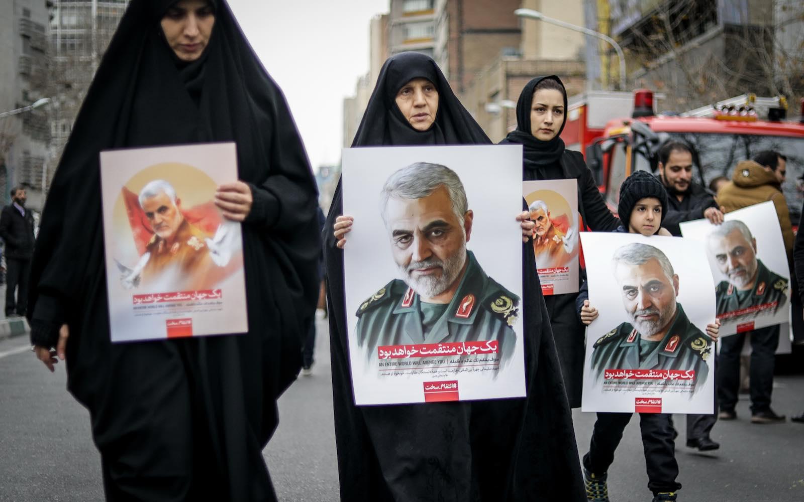Iranians protest the US strike that killed Commander Qasem Soleimani and nine others, Tehran, 4 January 2020 (Hamid Vakili/NurPhoto via Getty Images)