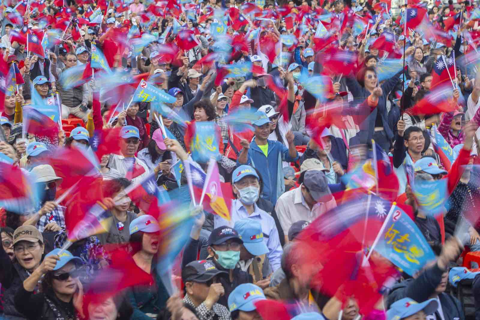 Supporters of Han Kuo-yu, Taiwan's main opposition presidential candidate, at a campaign rally in Taipei, 5 January (Photo: Chan Long Hei/SOPA Images/LightRocket via Getty)