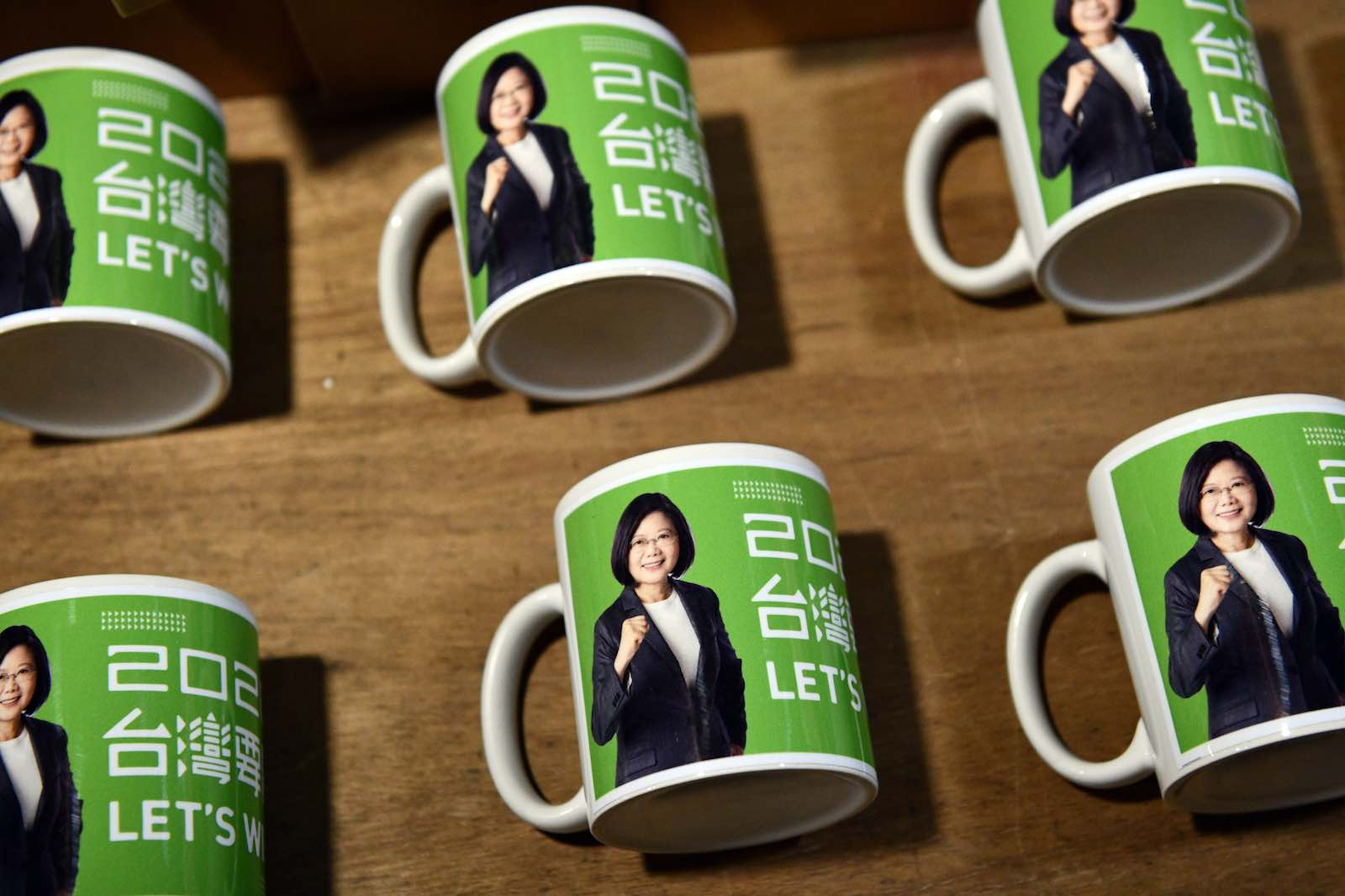 Tsai Ing-Wen–branded mugs are displayed for sale after her re-election as President of Taiwan, Taipei, 11 January (Photo: Carl Court/Getty Images)