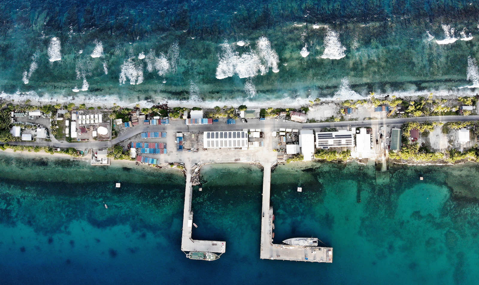 Funafuti, Tuvalu: an aerial view of the port between the Pacific Ocean (top) and lagoon, November 2019 (Mario Tama/Getty Images)