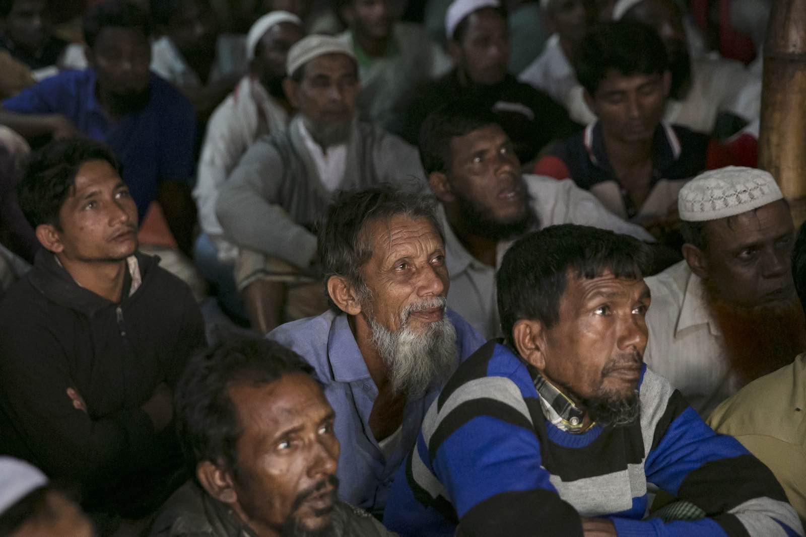 Watching the ICJ announcement at a restaurant in a Rohingya refugee camp on 23 January in Cox's Bazar, Bangladesh (Photo: Allison Joyce/Getty Images)