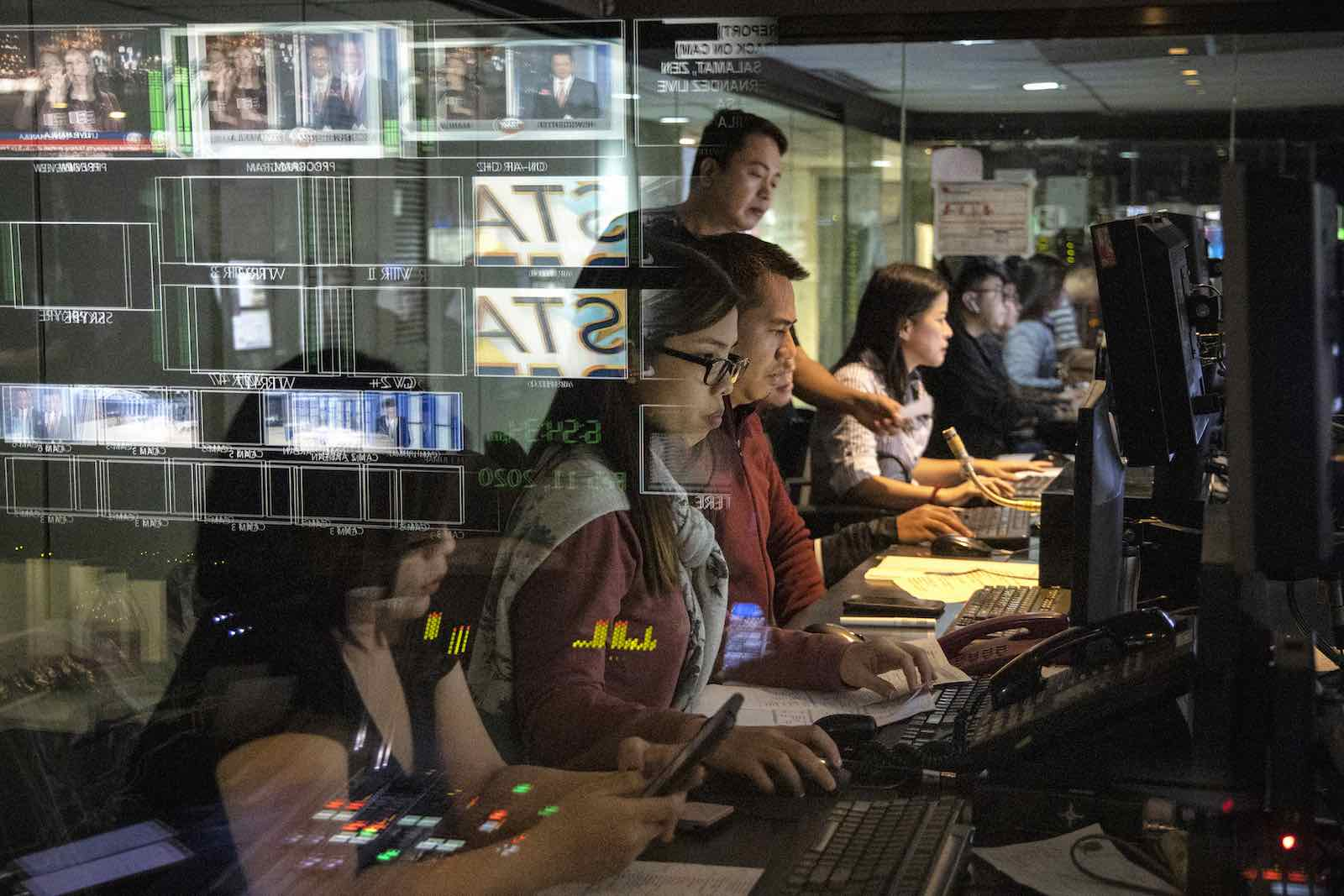 "Inside the control room of ABS-CBN news program, ""TV Patrol"", 11 February 2020 in Manila. The Philippine government last month moved to shut down ABS-CBN, the country's leading broadcast network (Ezra Acayan/Getty Images)"