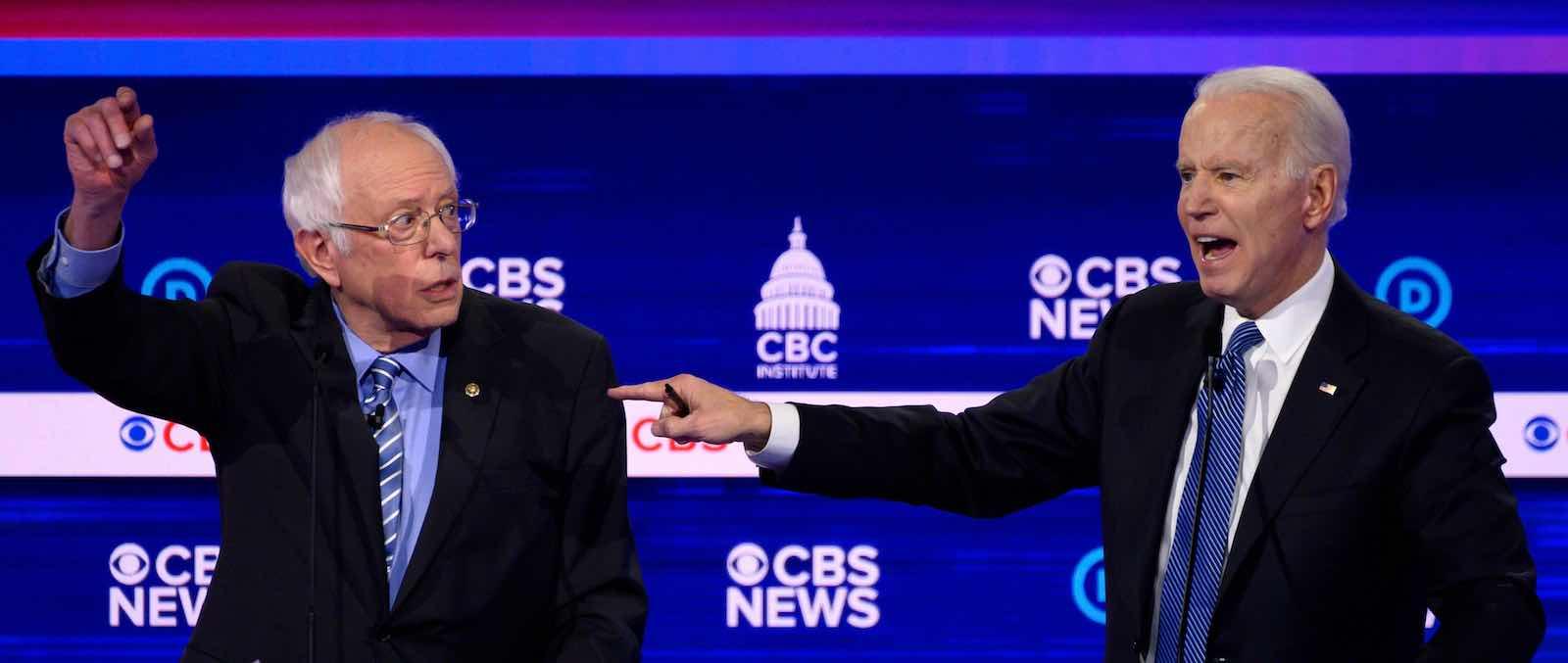 Needing to win decisively, Bernie Sanders and Joe Biden (Jim Watson/AFP/Getty Images)