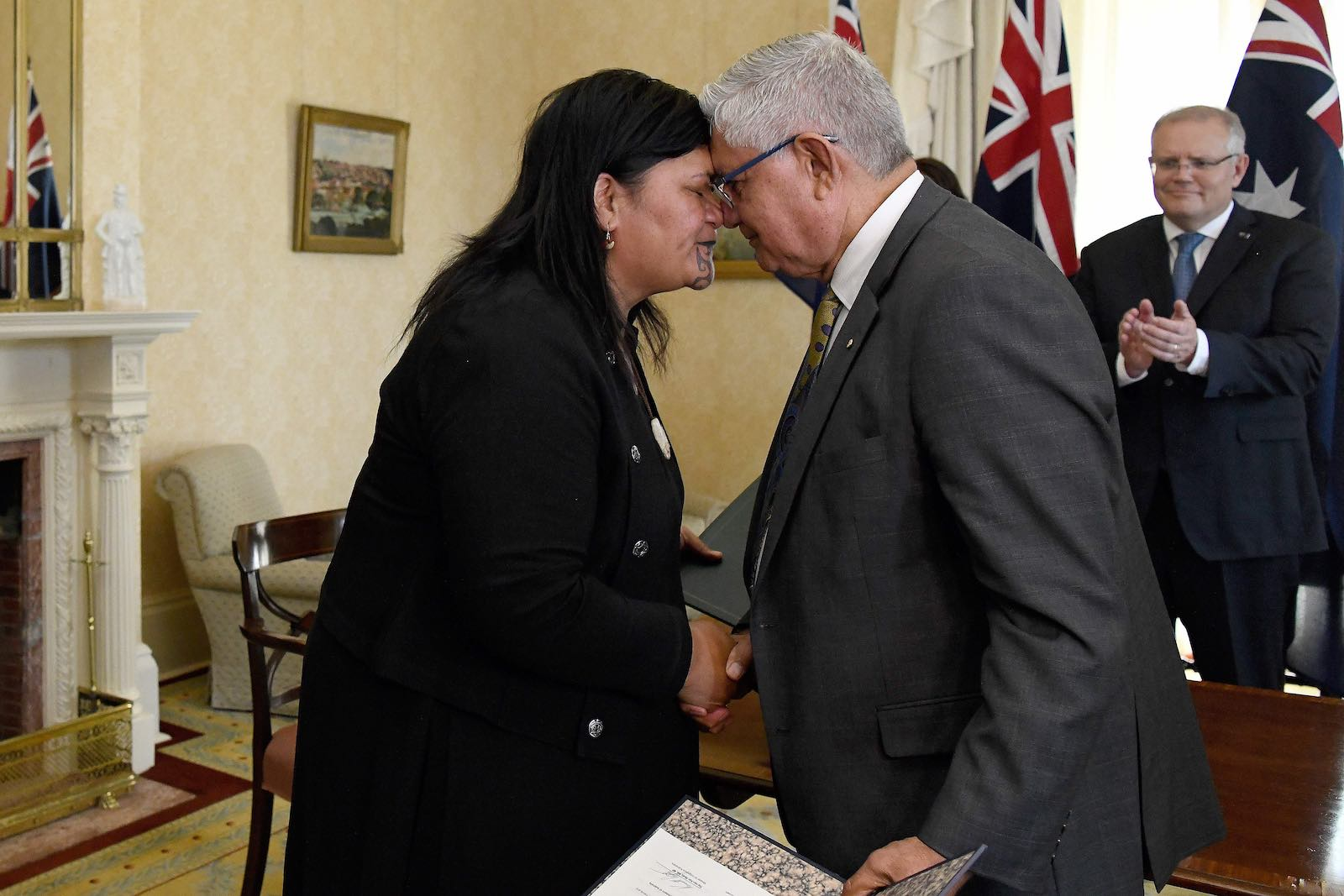 New Zealand's Nanaia Mahuta, before becoming Foreign Minister, on a trip to Australia in February 2020 greeting Minister for Indigenous Australians Ken Wyatt (Bianca De Marchi/AFP via Getty Images)