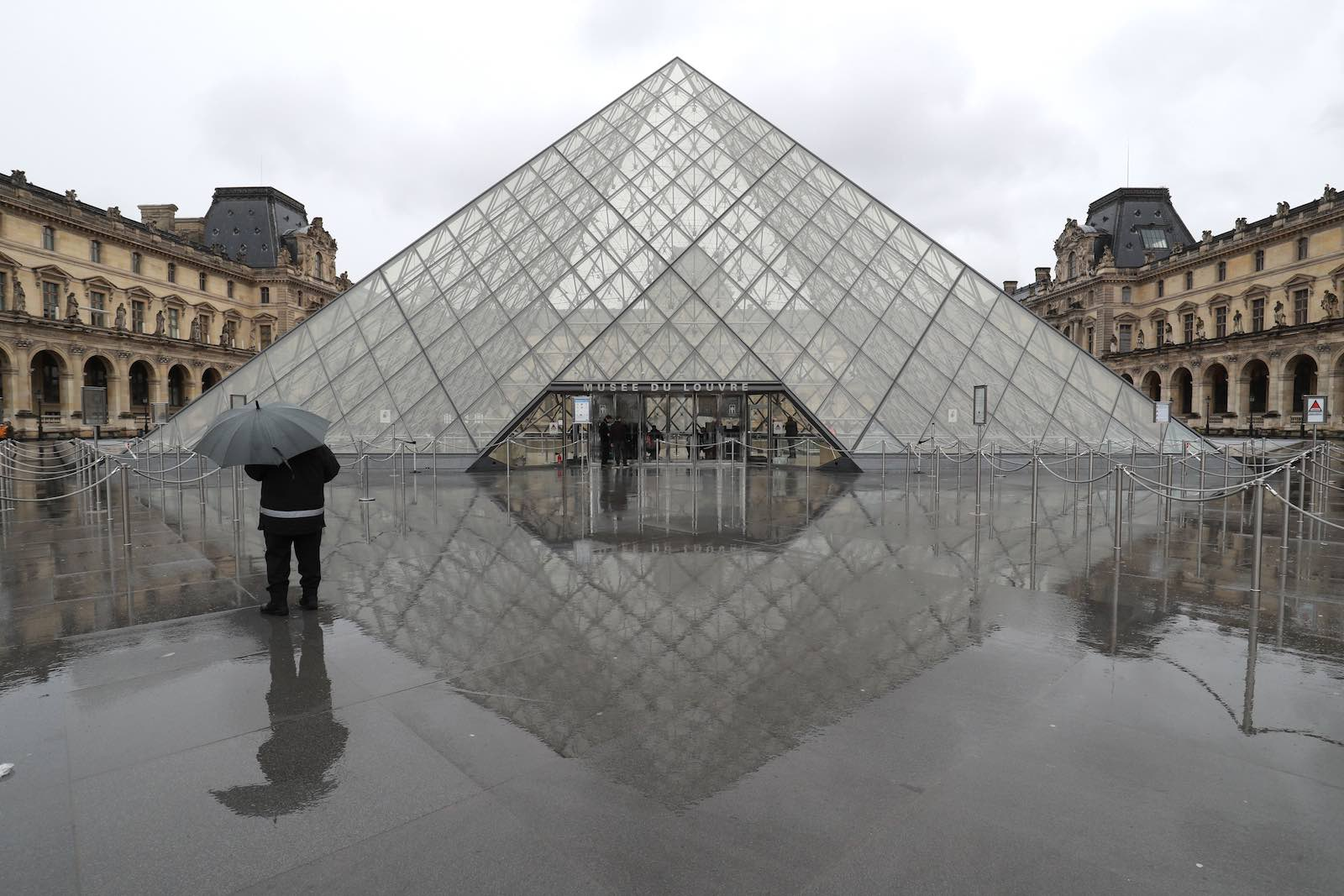 The deserted courtyard outside the Louvre Pyramid, 2 March (Ludovic Marin/AFP/Getty Images)