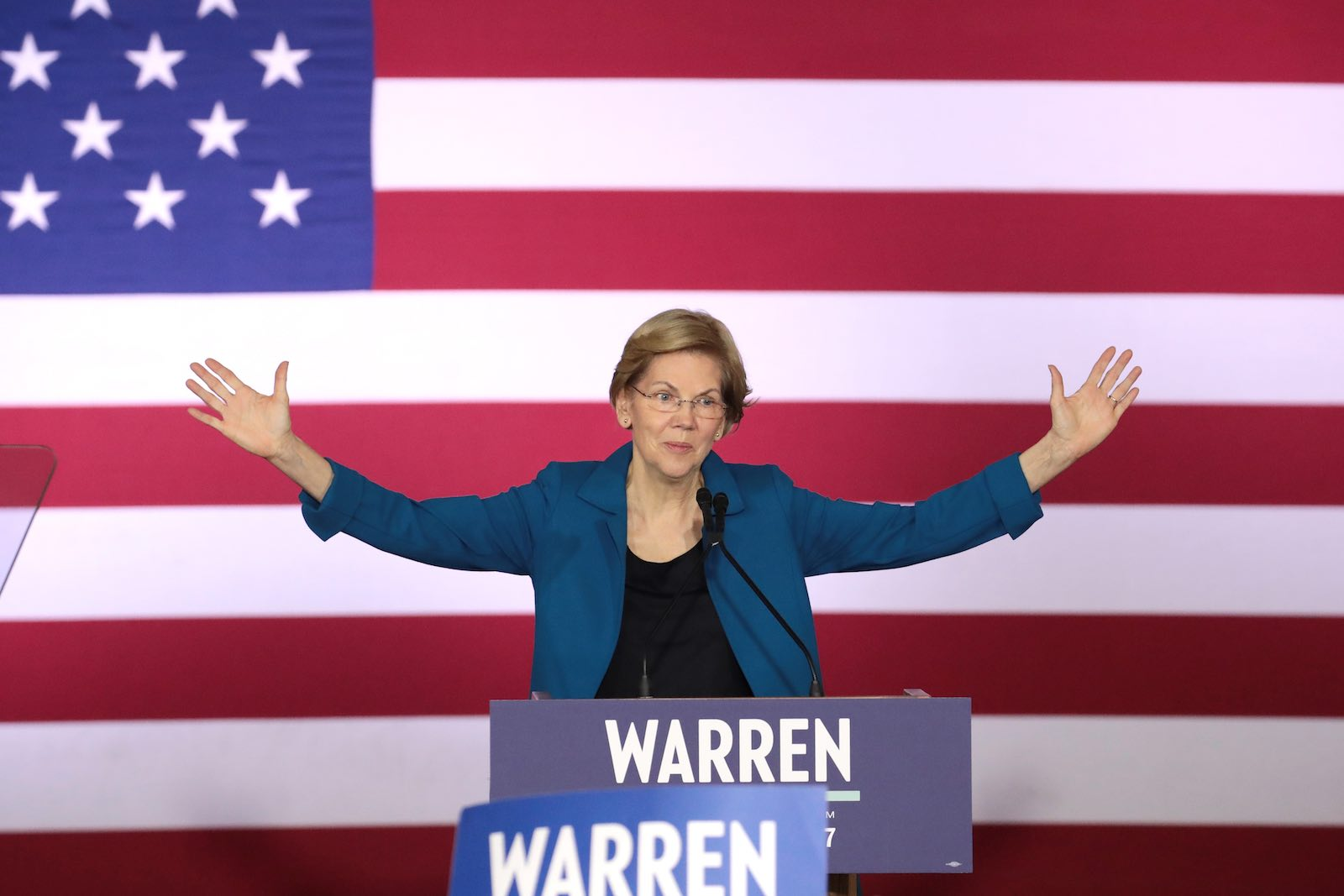 Elizabeth Warren speaking at a primary night event in Manchester, New Hampshire, 11 February 2020 (Scott Olson/Getty Images)