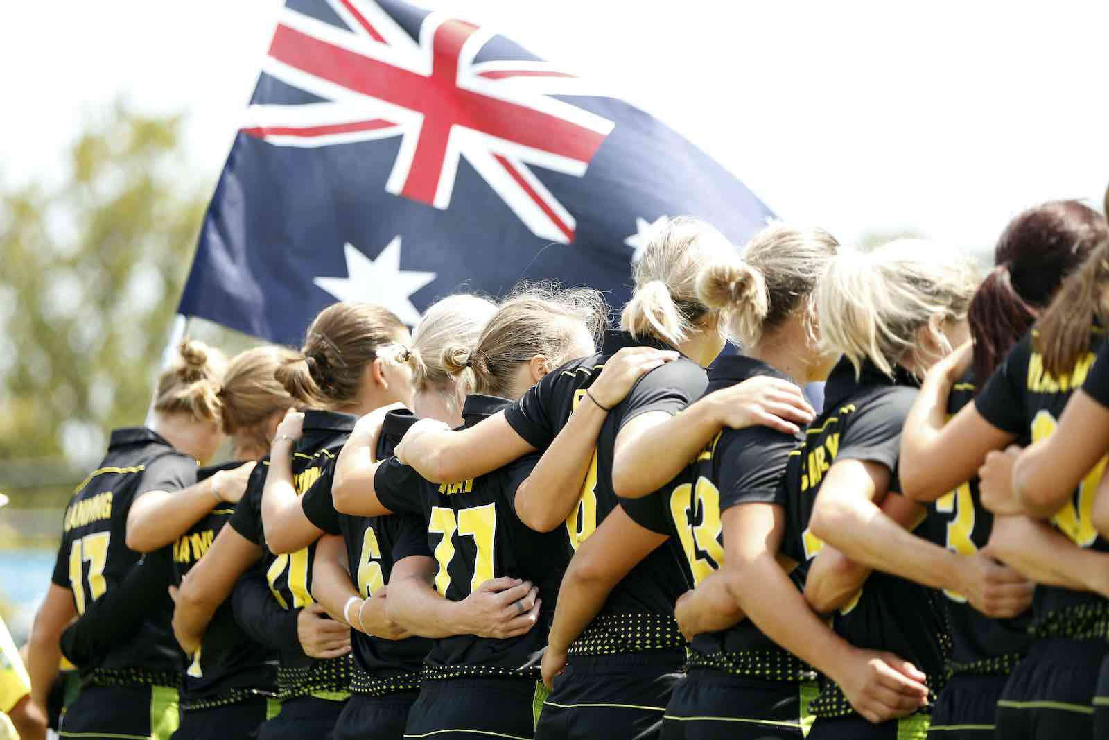 The Australian national anthem is played before the Women's Twenty20 cricket tri-series final between Australia and India at Junction Oval, Melbourne, February 2020 (Darrian Traynor/Cricket Australia via Getty Images)