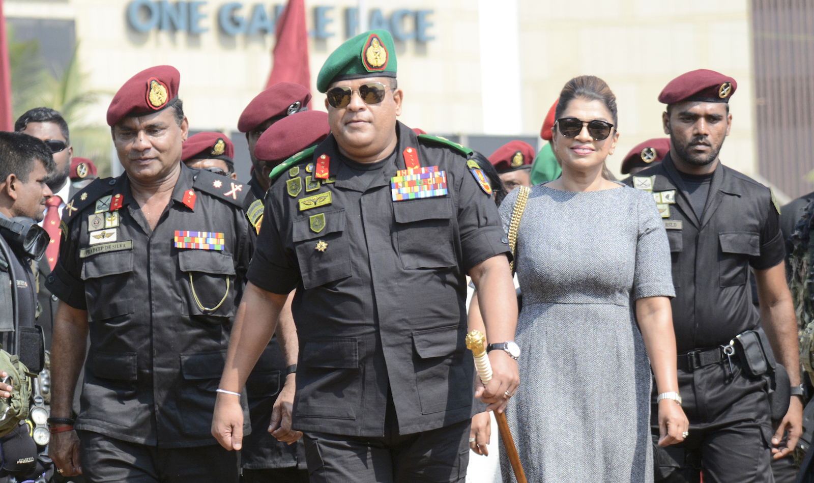 Sri Lankan Army Chief Shavendra Silva (C) in Colombo, 8 March 2020 (Akila Jayawardana/NurPhoto via Getty Images)